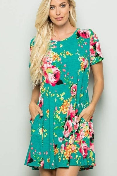 Heart on My Sleeve Green Floral Short Sleeve Dress - Sizes 12-20