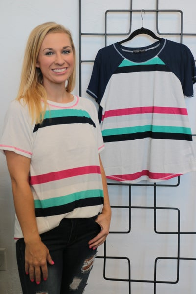 Run Around Town Striped Top In Multiple Colors- Sizes 4-18