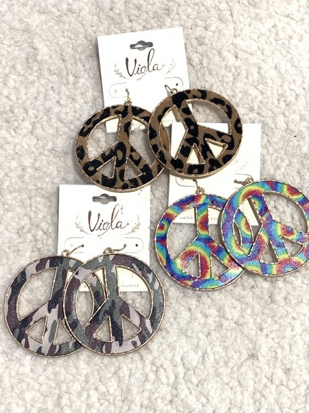 Feeling Groovy Metal Peace Symbol Earring In Multiple Prints