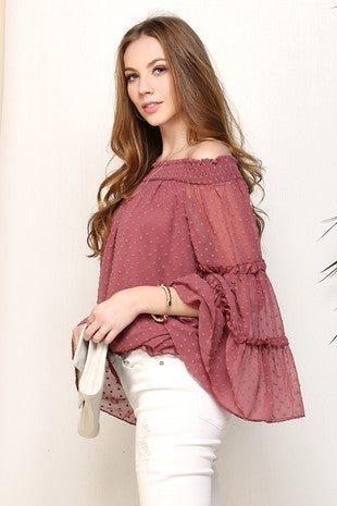 The Only One Swiss Dot Off the Shoulder Ruffle Sleeve Mauve Top - Sizes 4-10