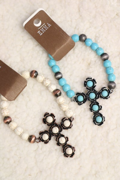 Beautiful Day Beaded Cross Stretch Bracelet In Multiple Colors