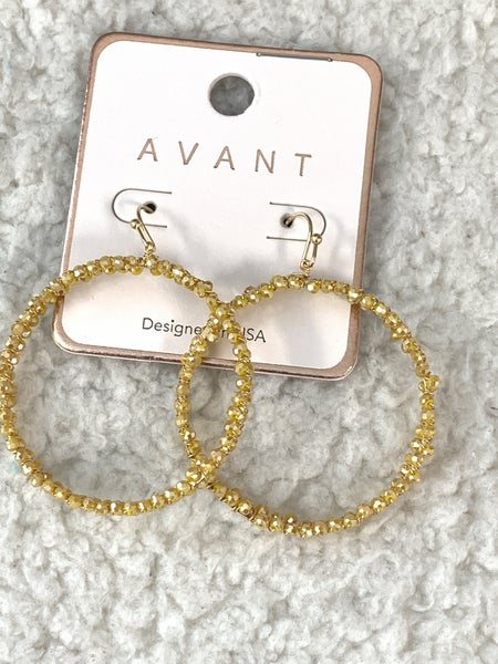 Ring Of Fire Mustard Crystal Bead Hoop Earring In Gold