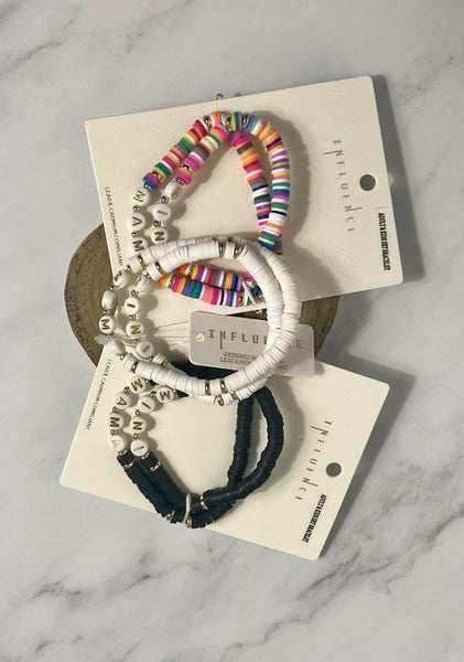Mommy And Me 2 Strand Rubber Disc And Letter Bead Stretch Bracelet In Multiple Colors