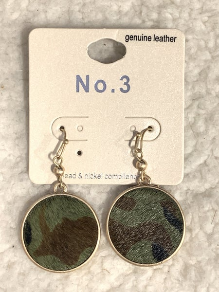 In The Know Green Camo Circle Earring
