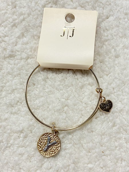 Gold Disc Initial Bangle Bracelet - Y