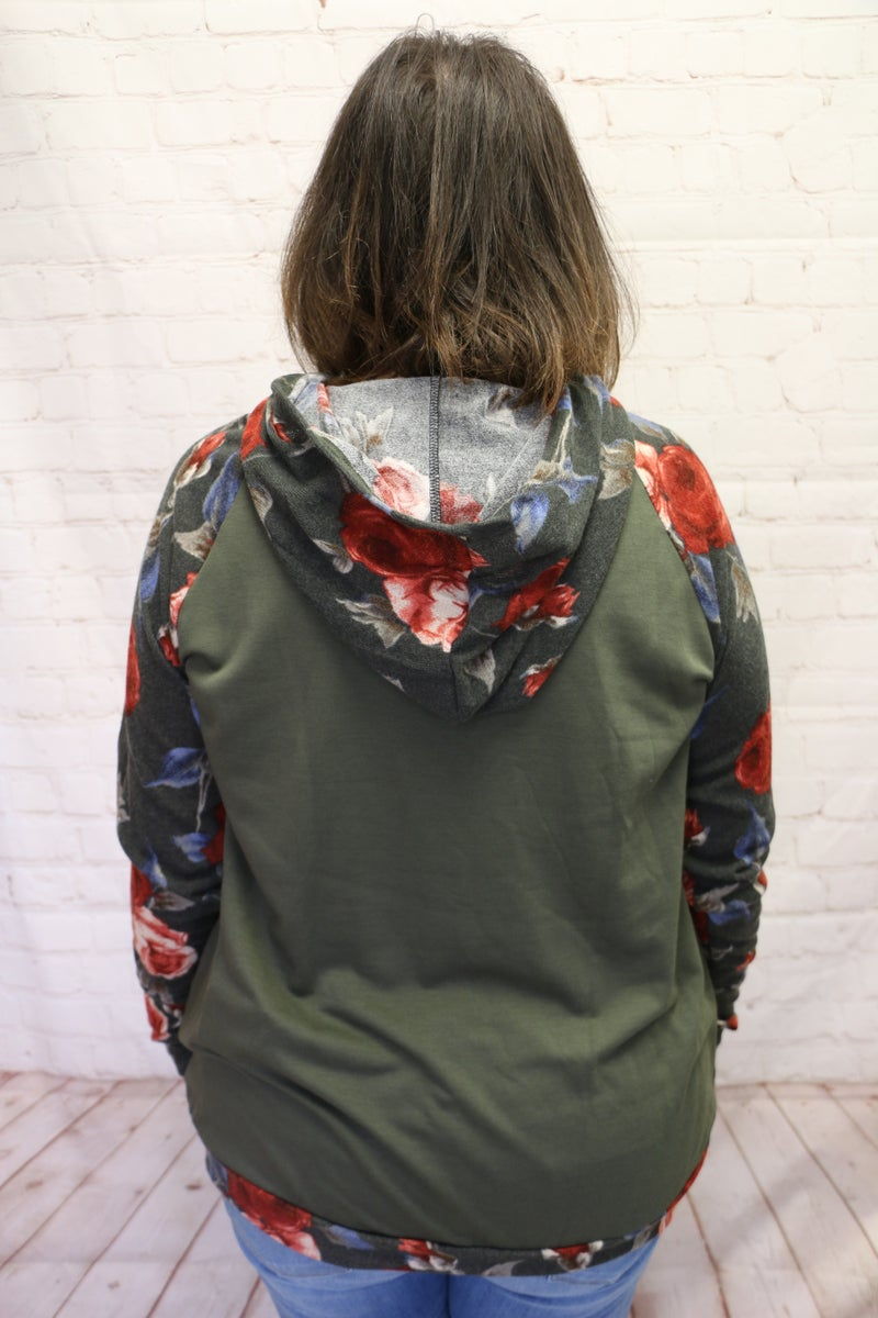 Floral Days Olive Hoodie With Floral Accent Sleeves- Sizes 4-10