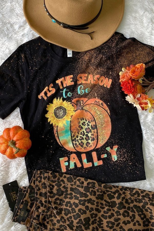 Tis the Season to be Fally Leopard and Sunflower Pumpkin on Bleach Splatter Graphic Tee - Sizes 4-20