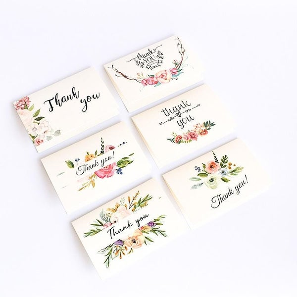 6 Piece Decorative Floral Thank You Cards