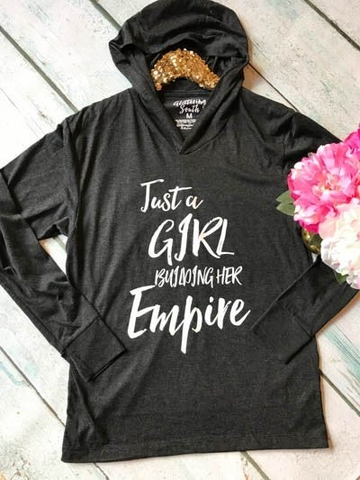 Just a Girl Building Her Empire Heathered Black Lightweight T-Shirt Hoodie - Sizes 4-12