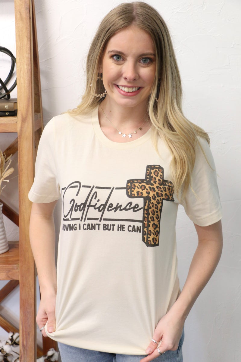 Godfidence Leopard Cross Ivory Graphic Tee - Sizes 4-20