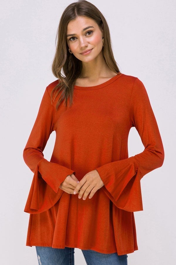 All I Want Brick Slit Bell Sleeve Top - Sizes 4-10
