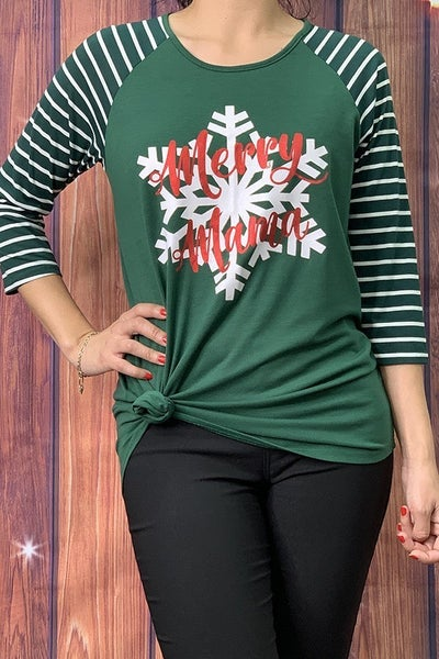 Merry Christmas Snowflake Green Raglan with Striped Accent Sleeve - Sizes 4-18