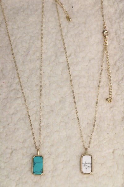 Frame It Up Gold Necklace With Rectangle Stone Pendant In Multiple Colors