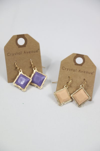 Help Us Out Diamond Stone Drop Earring In Multiple Colors
