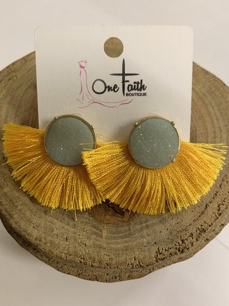 Simply Perfect Fan Tassel Earrings - Multiple Colors