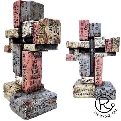 Scripture Cross on Faux Wood Blocks
