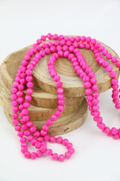 Neon Pink Point Of Perfection Beaded Necklace