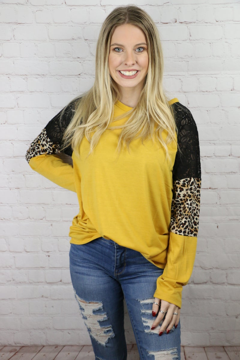 Reach For You Raglan Top with Leopard & Lace in Multiple Colors - Sizes 4-20