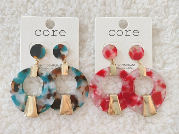 Groovy Acrylic Marbled Circle Hoop Earring With Gold Details In Multiple Colors