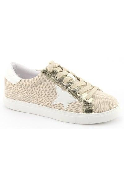 Let's Get Wild Mesh Beige & Gold Sneakers