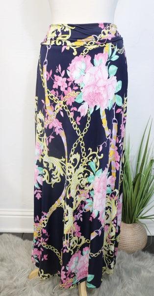 Heart on Your Sleeve Fold Over Navy Maxi Skirt - Sizes 12-20