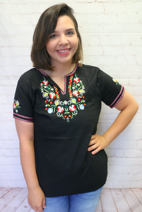 You're the Reason Short Sleeve Black Top with Embroidred Floral Design and Accents - Sizes 4-20