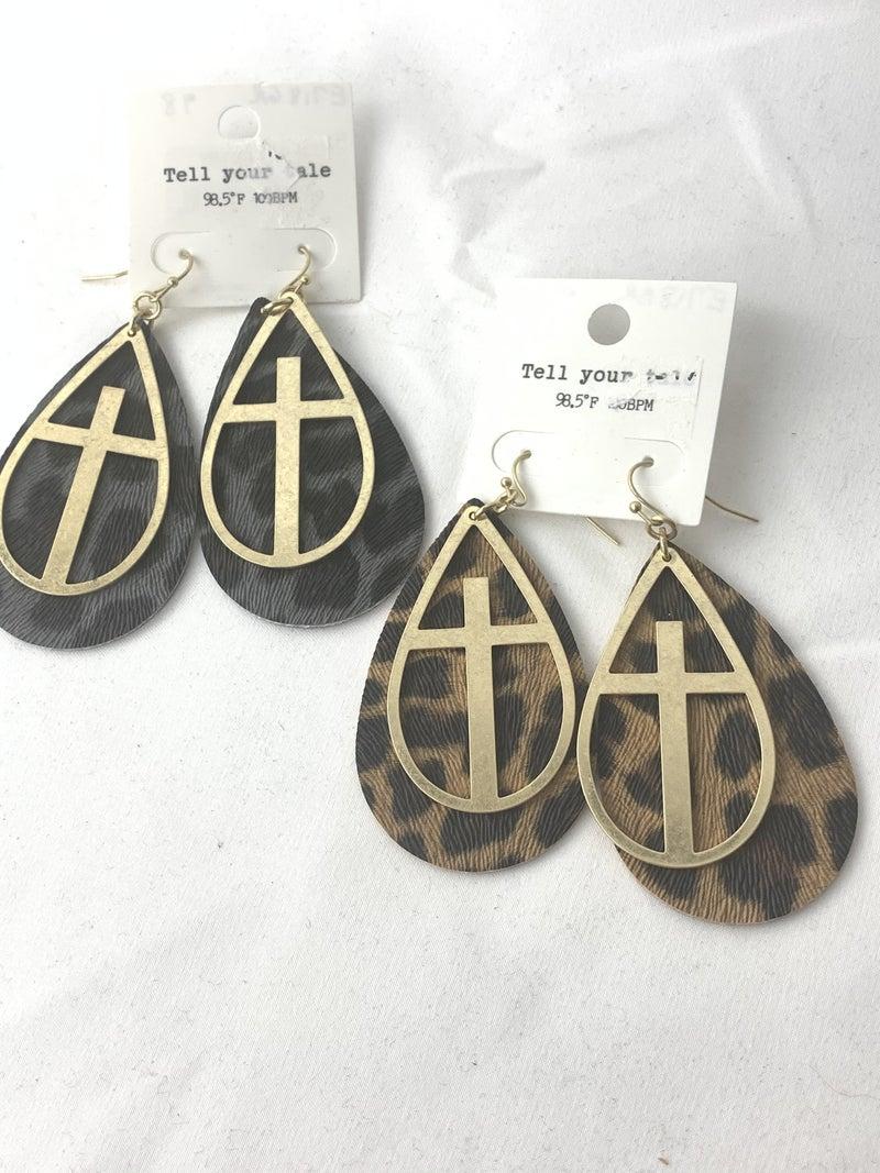 All For One Leopard Teardrop Earring With Metal Cross Cutout