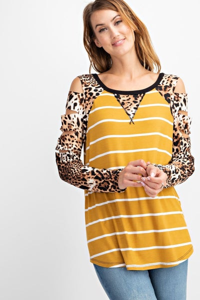 Don't Wanna Leave Mustard Stripe with Leopard Cut Out Accent Sleeve - Sizes 4-10