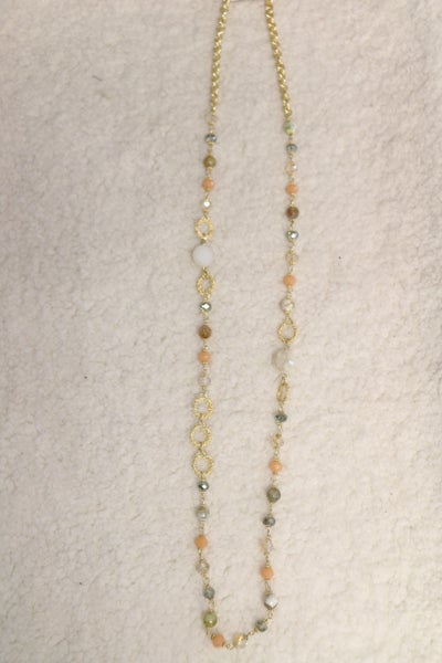 On The Town Long Multi Colored Natural Stone Beaded Necklace In Gold