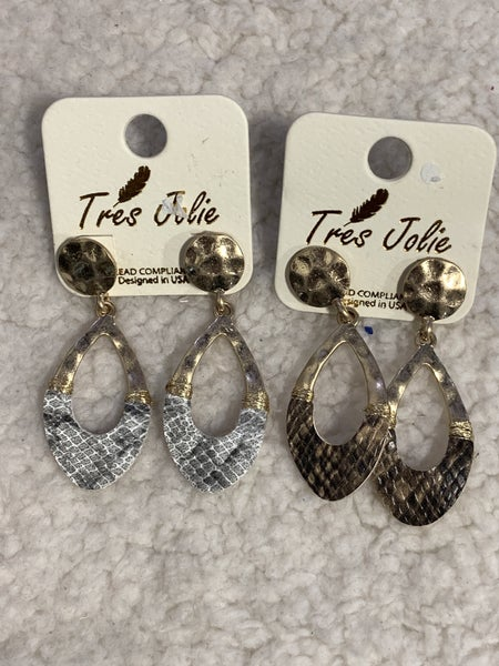 Always There  Wavy Hammered Teardrop Earring With Snakeskin In Multiple Colors