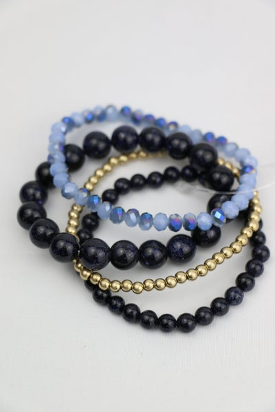 Never Alone 4 Strand Blue Beaded Stretch Bracelet