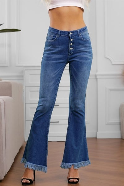 The Alicia Medium Wash Button Fly Frayed Hem Flare Jeans - Sizes 4-12