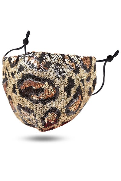 The Bling Is Real Full Sequin Leopard Face Mask in Multiple Colors