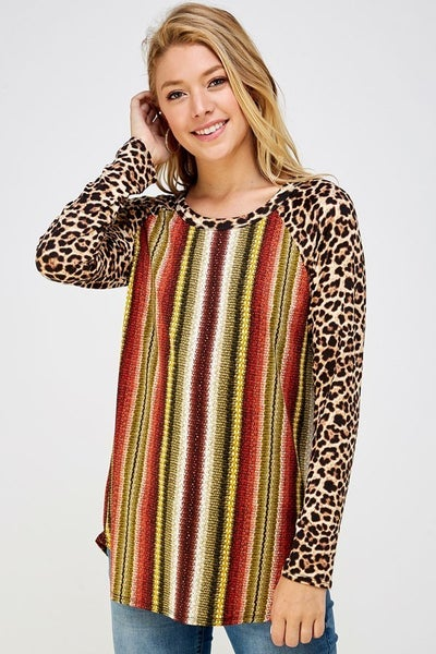 She's a Wild One Striped Raglan with Leopard Accent Sleeve- Sizes 4-10