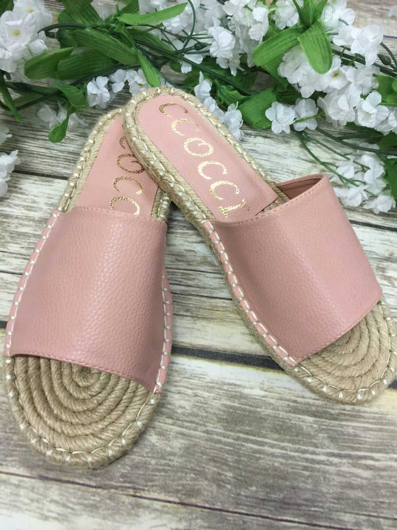 My Favorite Vacation Espadrille Slides in Blush