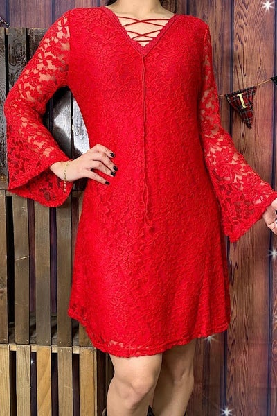 Beat of the Night Red Lace Dress - Sizes 4-20