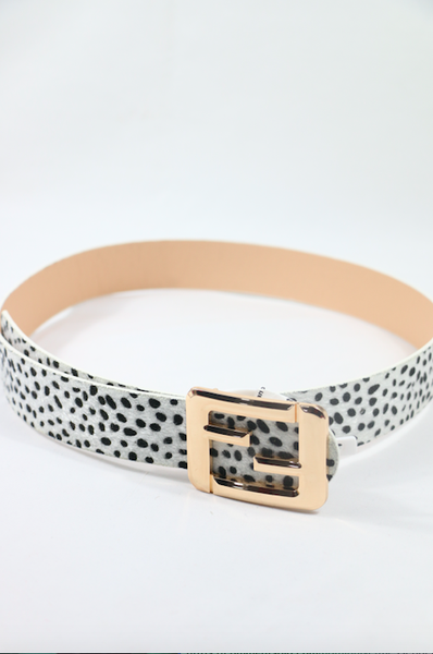 Just Say Yes - Dalmatian Print Belt With Gold Buckle