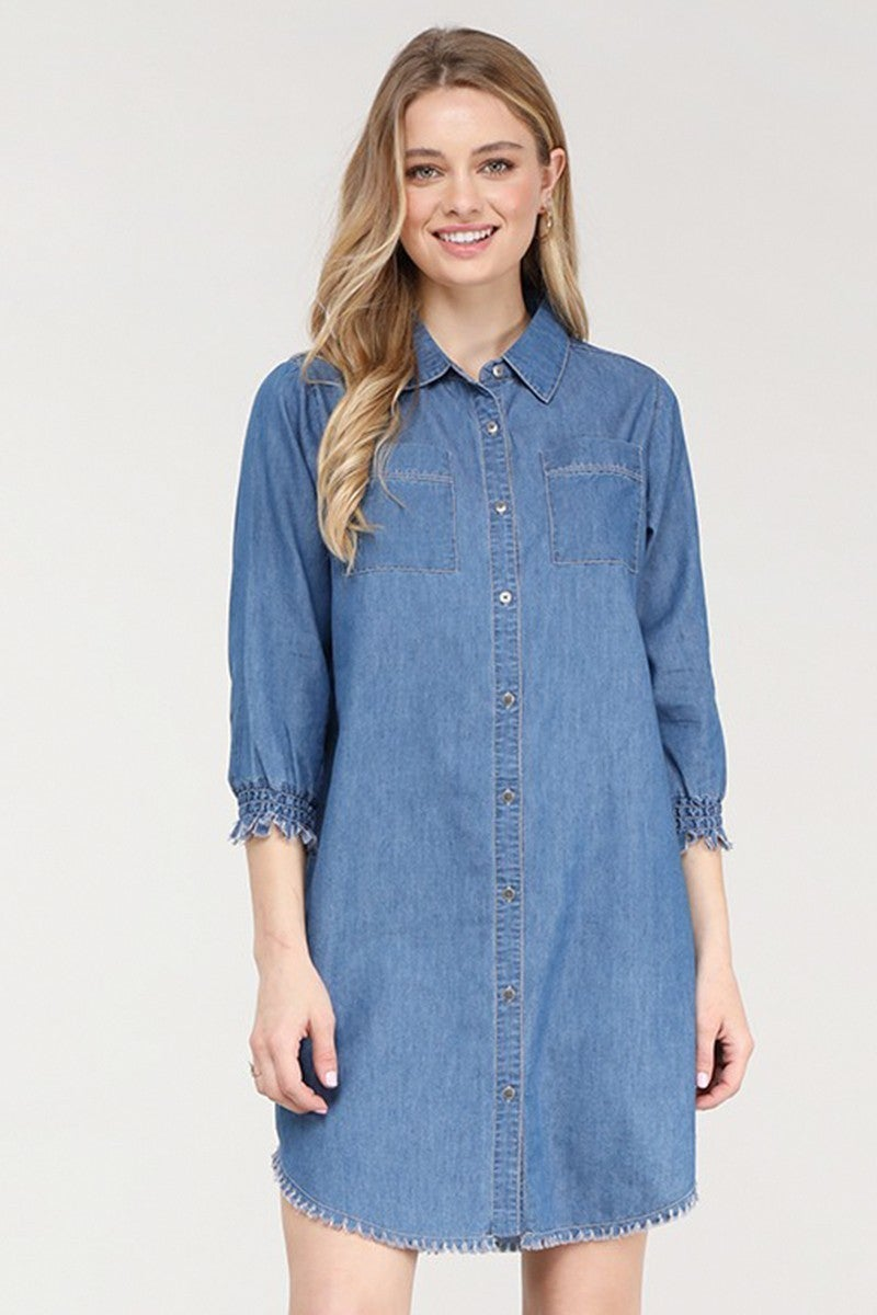 This Is Why Dark Denim Button Down Shirt Dress - Sizes 4-20