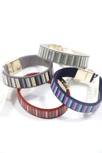 Hold The Line Metallic Multi Stripe Magnetic Clasp Bracelet In Multiple Colors