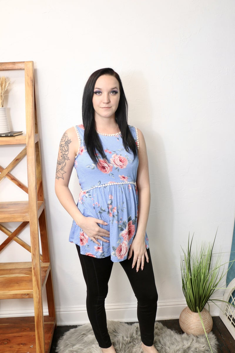 Sweetest Love Blue Floral Top with Crochet Accent Hem - Sizes 4-12