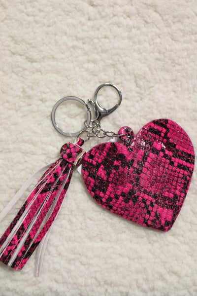 Key To My Heart Keychain With Tassel In Hot Pink