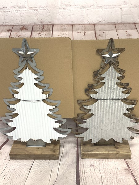 2 Tone Metal Christmas Tree On Stand In Multiple Colors