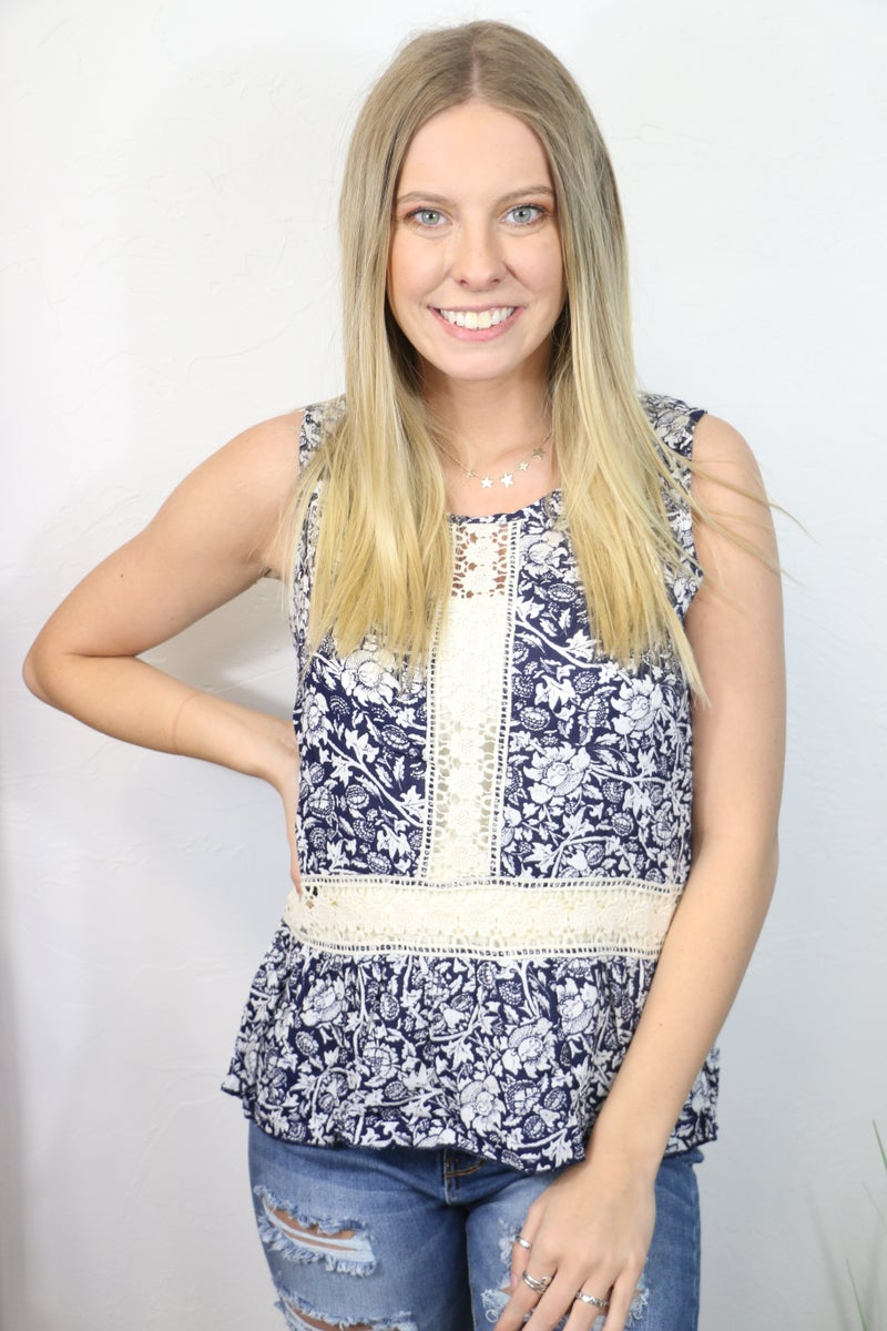 Free Spirit Navy Floral Tank Top with Crochet Accents - Sizes 4-12