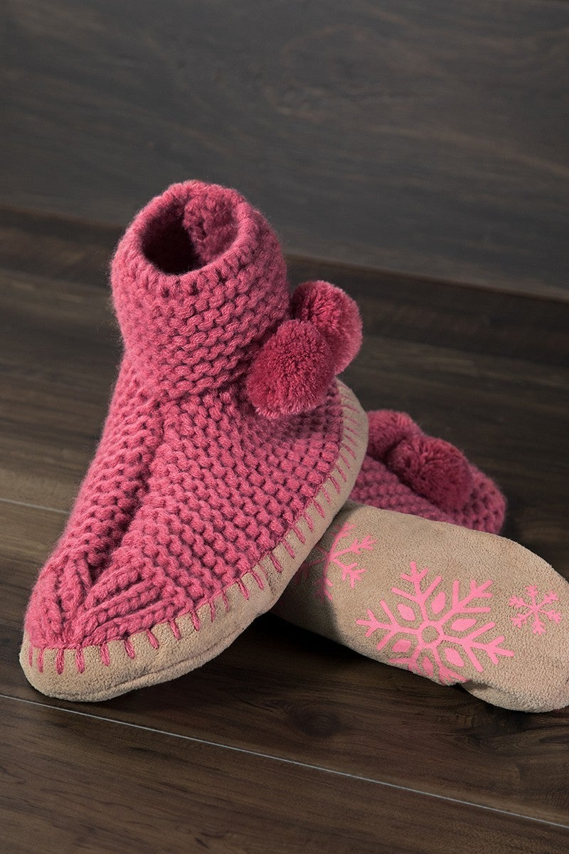 Knitted Slipper Boot with Snowflake Sole in Multiple Colors