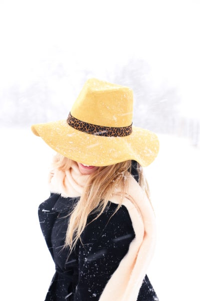 Go Ahead Mustard Suede Hat With Leopard Accents