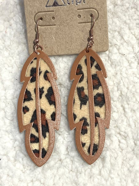 Hope Floats Leopard Print Leaf Shape Earring