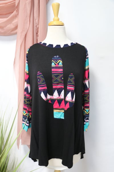 Wander Together Black Raglan with Aztec Serape Cactus and Accent Sleeve - Sizes 12-20