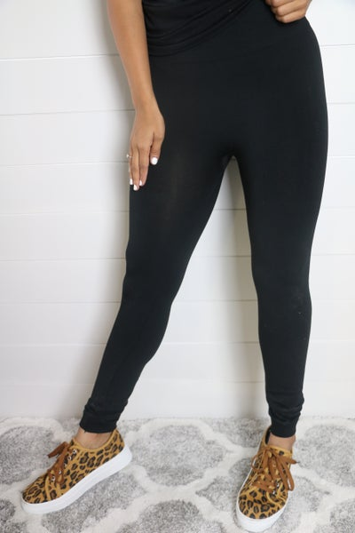 Full Length Fleece Leggings With Tummy Control Waistband - Multiple Colors - Sizes 4-20