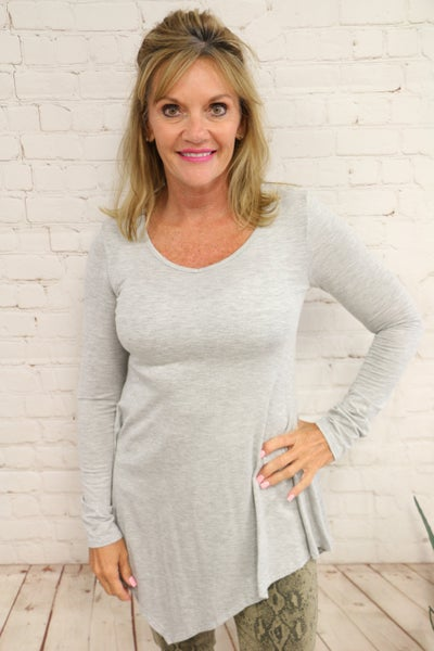 Up To Me Uneven Hem Top In Gray Sizes 4-10