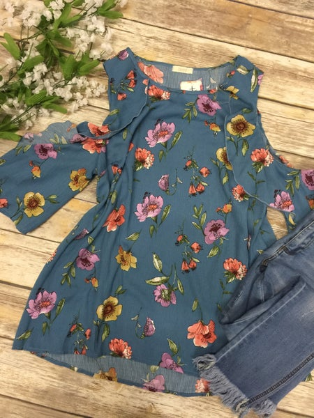 Along The Way Floral Open Shoulder Top in Blue - Sizes 12-20